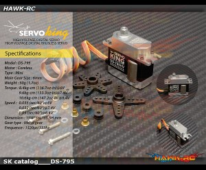 ServoKing DS-795HV Digital Mini Size Servo (0.03s, 10.6kg @ 8.4V)